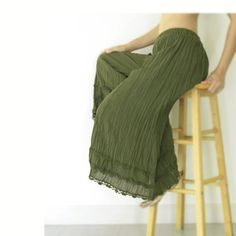 Gypsy / Yoga / Fisherman Pants Crinkle Cotton in Dark by oOlives, $29.50