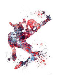 Ilustración de lámina de Spiderman, superhéroes, Home Decor, arte de la pared, Marvel