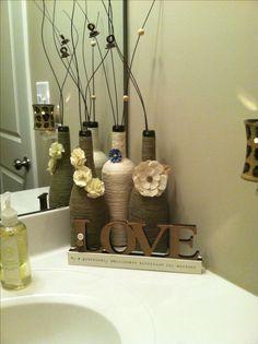 Wine bottles wrapped in jute