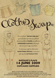 clothes swap party invitation -- wow, I love the idea of doing a paper doll!