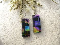 Graphics Black Rainbow, Dangle Drop Earrings, Dichroic Glass Earrings, Fused Glass Jewelry, Dichroic Earrings, Sterling Silver   063015e105 by ccvalenzo on Etsy https://www.etsy.com/listing/238855647/graphics-black-rainbow-dangle-drop: