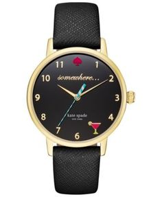 kate spade new york Women's Black Leather Strap Watch 34mm KSW1039 - Watches - Jewelry & Watches - Macy's