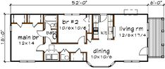 Craftsman Style House Plan - 2 Beds 1 Baths 955 Sq/Ft Plan #79-104 Floor Plan - Main Floor Plan - Houseplans.com