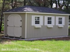 10'x16' Hip Roof Shed with Rounded Doors, Shutters, Flower Boxes and Ridge Vent http://www.backyardunlimited.com/sheds/hip-roof-sheds