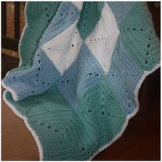 Blue and Green Granny Square Baby Blanket Blue and Green Crocheted Baby Blanket Baby Boy Baby Shower Gift - ($45) found on Polyvore