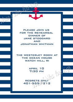 Printable Nautical Anchor Invitation by WhenIWasYourAge on Etsy, $9.00