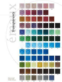 kleurkaart emaille transparant op zilver - color charts emaille transparent on silver