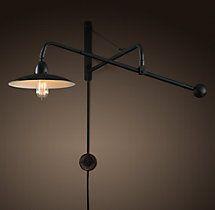 Light to left of fireplace; 1940s Architect's Boom Medium Sconce Antique Black