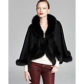 Maximilian Wool-Cashmere Cape with Fox Fur Trim