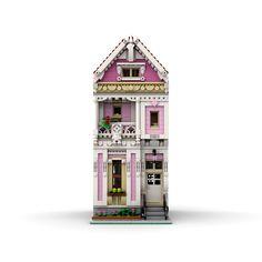 Painted Lady House, Lego Modular, Lego Moc, Lego Building, Lego City, Legos, Buildings, Dolls, Architecture