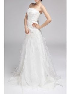 Chiffon Strapless Chapel Train A-line Wedding Dress with Sequins