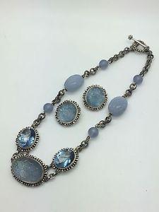 US $585.00    Stephen-dweck-LARGE-Sterling-silver-mulistone-set-necklace-earrings