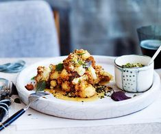 Fuyu restaurant shares its recipe for a tender caramelised cauliflower cooked Japanese-style with a white miso dressing. Chef Recipes, Asian Recipes, Vegetarian Recipes, Cooking Recipes, Healthy Recipes, Japanese Recipes, Cooking Corn, Healthy Salads, Japanese Food