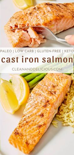 This cast iron salmon recipe is one of the healthier recipes out there and so crispy! Healthy Gluten Free Recipes, Healthy Dinner Recipes, Vegetarian Recipes, Cooking Recipes, Paleo, Salmon Recipe Cast Iron, Cast Iron Salmon, Salmon Recipes, Seafood Recipes