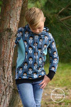 Nähe einen Hoodie mit dem Schnittmuster Dein Nanuk Teens Free Pattern, Sweatshirts, Children, Kid Dresses, Kids Wear, Fabrics, Sewing Patterns Free, Trainers, Sweatshirt