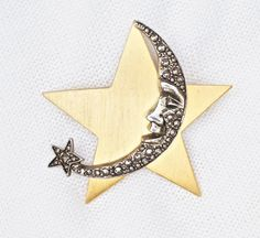 Moon Star Jewelry Brooch Silver Tone Textured Crescent on Brushed Gold $8.50