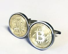 Bitcoin Cufflinks - Gold Plated Bitcoin Cufflinks- Digital Cryptocurrency - Cufflink Presentation box - 100% Satisfaction  - 3 day shipping by worldcoincufflinks on Etsy