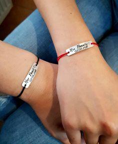 Set of 2, Couples Bracelets, Personalized, His Beauty, Her Beast Bracelets, Matching Set Bracelets, Customized, Couple Gift, Anniversary Couple Bracelets, Sliding Knot, Colour List, Matching Set, Fitbit Alta, Cartier Love Bracelet, Couple Gifts, Beast, Boyfriend