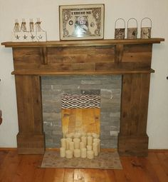 Pallet fireplace mantle