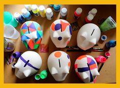 Chanchitos pintados a mano para negocio propio