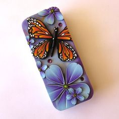 Monarch Butterfly Slide Top Tin Sewing Needle Case by Claybykim