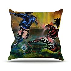 KESS InHouse JS2031AOP03 18 x 18-Inch 'Josh Serafin Slidetackle Soccer' Outdoor Throw Cushion - Multi-Colour