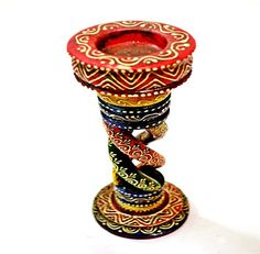 Long Vintage Wooden Candle Stand Holder Meena art painted Handmade decor Burner this was made for me!