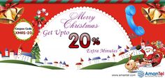 May the joy and peace of Christmas be with you all through the Year. Wishing you a season of blessings from Amantel.  Use Coupon Code [XMAS-20] & Get upto 20% Extra Minutes!