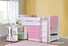 Diva Girls Pink And White Mid Sleeper Bed With Desk And Storage