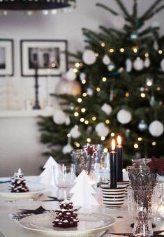 black and white christmas table setting