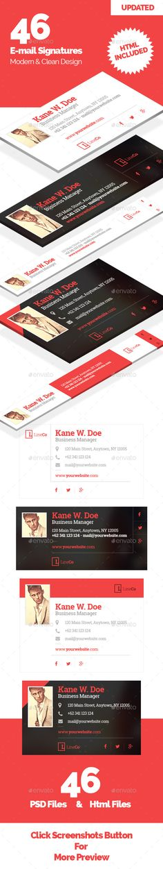 46 Email Signature Template PSD. Download here: http://graphicriver.net/item/46-email-signature/11335974?s_rank=55&ref=yinkira