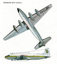 Items similar to vintage AIRPLANE print Douglas DC4 aircraft, airplane ...