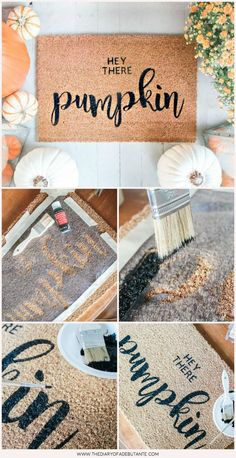 DIY & Crafting Why buy a fall doormat when you can make your own? In this post, southern lifestyle b Cricut Stencils, Stencil Diy, Cricut Explore Air, Diy Crafts For Kids, Fall Crafts, Diy Quotes, Fall Doormat, Christmas Doormat, Decoration Entree