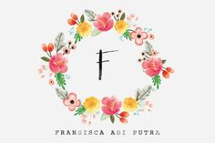 Floral wreath watercolor flowers pink yellow green monogram letter F hand script black ink cute feminine design feminine logo serif typewriter tagline by felingpoh on Creative Market Floral Wreath Watercolor, Watercolor Flowers, Watercolor Paintings, Elisabeth I, Logo Floral, Corona Floral, Watercolor Business Cards, Flower Frame, Floral Bouquets
