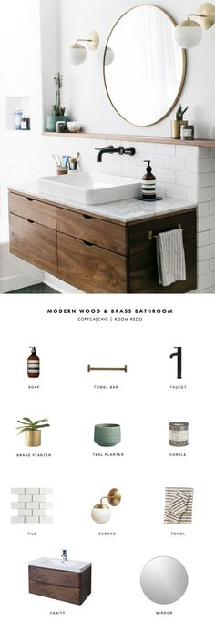 Copy Cat Chic Room Redo A modern wood and brass bathroom seen on SF Girl by Bay gets recreated for less by copycatchic luxe living for less budget home decor and design Brass Bathroom, Bathroom Interior, Master Bathroom, Bathroom Pink, Bathroom Lighting, Bathroom Shelves, Sink Shelf, Vanity Shelves, Bathroom Mirrors