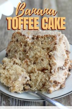 This banana toffee cake is moist and full of banana flavor with the addition of chopped toffee, then covered in rich browned butter toffee buttercream. Banana Recipes, Cake Recipes, Dessert Recipes, Brownie Recipes, Toffee Cake Recipe, Butter Toffee, Peanut Butter, Moist Cakes, Savoury Cake