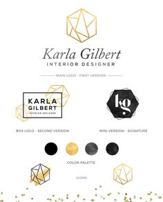 LOGO KIT Gold Logo Branding Package Hexagon by PixelsDustDesign