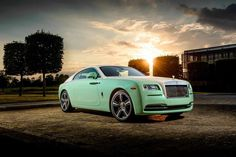 The collector Michael Fux received a new car, a Rolls-Royce Wraith which is painted in a special peanut green color preferred by Fux in his cars. This Wraith is two-tone with pistachio green and cream colors on the exterior. Inside, all leathers and the ceiling are dyed in green.