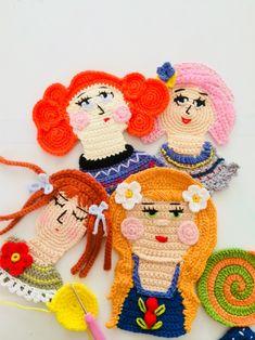 Crochet Faces, Crochet Art, Crochet Dolls, Crochet Skirts, Crochet Purses, Applique Patterns, Crochet Patterns, Easy Crafts For Teens, Crochet Wall Hangings