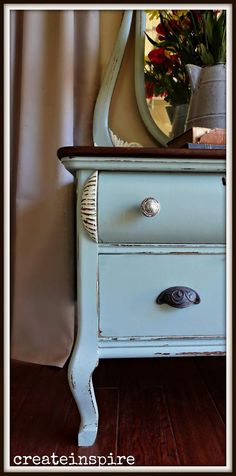 {createinspire}: Antique Lowboy w/ Mirror Blue Painted Furniture, Chalky Paint, Lowboy, Furniture Projects, Create Yourself, Garage, Mirror, Antiques, Table