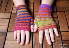 "Fingerless Mittens ""STRIPES"", fingerless gloves, wrist warmers - 100% Merino Wool - handknitted, rainbow colours, gift for her by KnitographyByMumpitz"