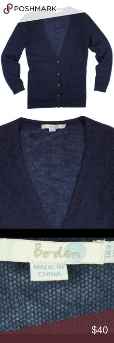 "BODEN Navy Blue Mohair Cardigan Sweater Mint condition. This navy blue mohair cardigan sweater from BODEN features button closures and front pockets. Made of a mohair blend. Measures: bust: 36"", total length: 26.5"", sleeves: 24"" Boden Sweaters Cardigans"