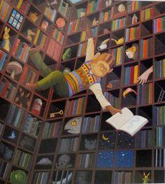 En la biblioteca de Alicia en el País de las Maravillas (ilustración de Anthony Browne)