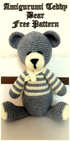 Crochet Teddy Bear Pattern, Crochet Bear, Crochet Patterns Amigurumi, Free Crochet, Crochet Toys, Amigurumi Free, Amigurumi Doll, Amigurumi For Beginners, Hand Knitting Yarn
