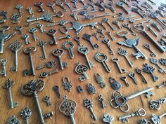 5-100 random size bronze vintage looking key charms scrap booking craft charm