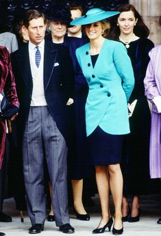 Prince Charles, Prince of Wales and Diana, Princess of Wales at the society wedding of Miss Camilla Dunne to the Honourable Rupert Soames at Hereford Cathedral, Fashion designer Catherine Walker. Get premium, high resolution news photos at Getty Images Prince Charles, Charles And Diana, Lady Diana, Camilla, Princess Diana Wedding, Princess Of Wales, Princess Photo, Real Princess, Prinz Georges