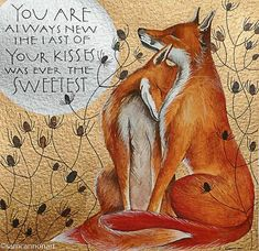 Original watercolour and gouache painting by Sam Cannon featuring two foxes and words by John Keats Fuchs Baby, Fuchs Illustration, Sam Cannon, Fox Art, Arte Popular, Red Fox, Belle Photo, Amazing Art, Illustrations