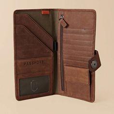 Leather Travel Wallet For Men - Open Travel