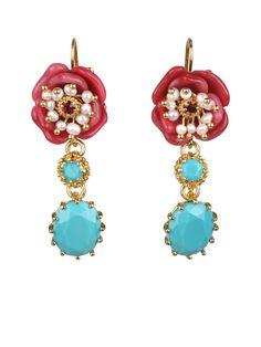 #LesNéréides #jewel #earrings #red #rose #pearls #passion #love #StValentine #stones    Shop on #www.lesnereides-usa.com