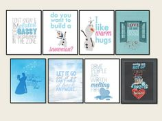 all eight frozen quotes posters.. digital files straight to your inbox and ready to be printed! 8x10 sized